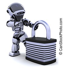 robot with padlock - 3D Render of a robot with padlock