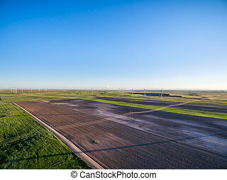 farmland in eastern Colorado aerial view - aerial view of...