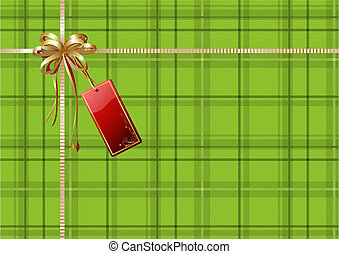 gift wrapping - Vector illustration of green Scottish plaid...