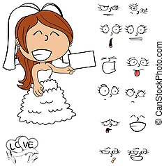 card young bride cartoon emotions - funny young bride...