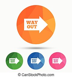 Way out right sign icon Arrow symbol Triangular low poly...