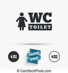 servicio,  WC, símbolo, señal, icono, Baño, mujeres