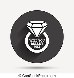Marry me ring sign icon Engagement symbol - Will you marry...