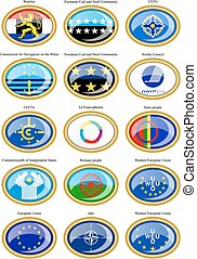 Flags of the Europe. - Set of icons. Flags of the Europe.