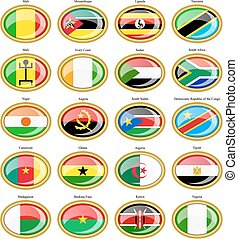 Flags of the Africa - Set of icons Flags of the Africa