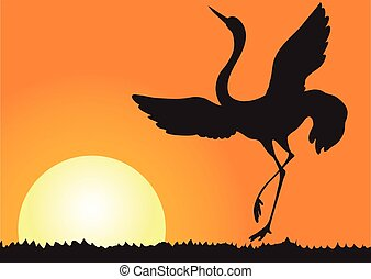 Silhouette of shadoof - Illustration silhouette of flying...