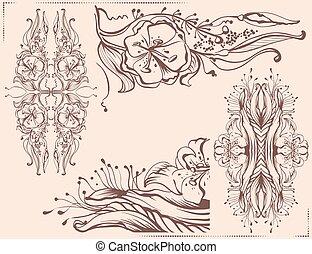 Graphic floral ornament Pencil line