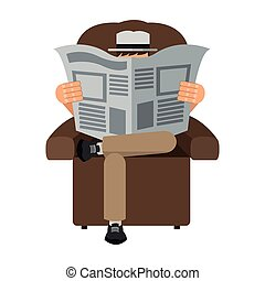 man reading newspaper sitting on chair icon