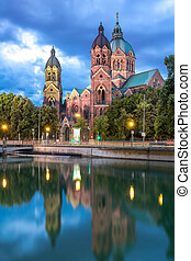 St. Lukas pink church Munich - Lukaskirche St. Lukas pink...