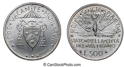 Papal Vacant see 1978 silver coin uncircoled isolated on...