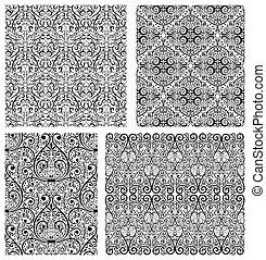 Set of Damask seamless pattern