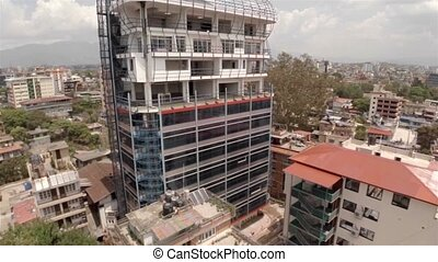 Office building under construction in Kathmandu drone...