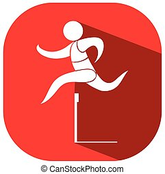 Hurdles running icon on red background illustration