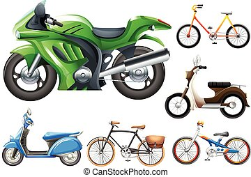 Set of motobike and bicycles illustration