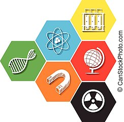 Different symbol of sciene on hexagon illustration