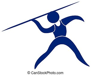 Javelin icon in blue color illustration