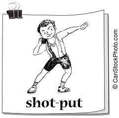 Shot put sport on paper illustration