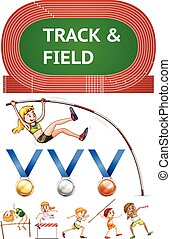 Track and field sports and sport medals illustration