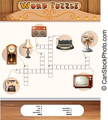 Word puzzle game with vintage objects illustration