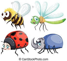 Different kind of insects that fly illustration