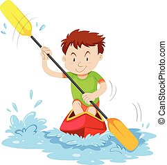 Man kayaking on the river illustration