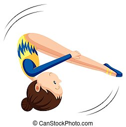 Woman in gymnastics suit flipping illustration