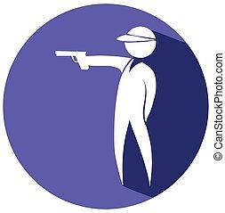 Shooting gun icon on round badge
