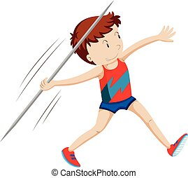 Man athlete doing javelin illustration