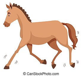 Brown horse running alone