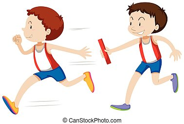 Relay running race on white background illustration
