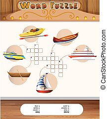 Word puzzle template with water transportations illustration