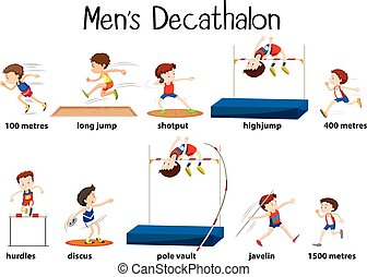 Different kind of men's decathalon illustration