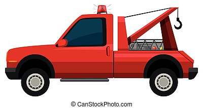 Tow truck in red color illustration