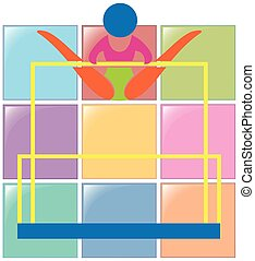 Gymnastics on uneven bars icon in colors illustration