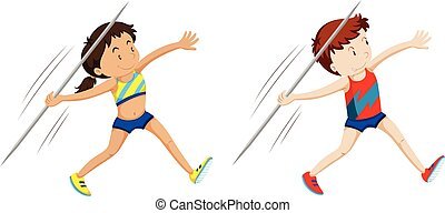 Man and woman athletes for javelin illustration