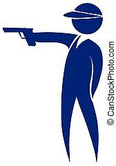 Shooting gun icon in blue color