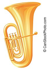 Golden tuba on white background illustration