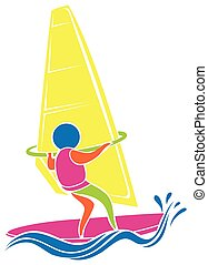Windsurfing icon in colors illustration