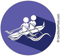 Kayaking icon on round badge illustration