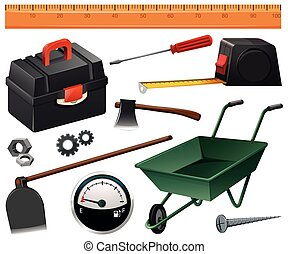 Construction and gardening tools illustration