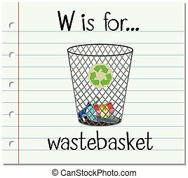 Flashcard letter W is for wastebasket illustration