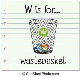 Flashcard letter W is for wastebasket illustration