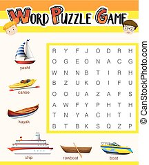 Word puzzle game template with water transportations...