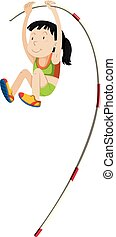 Woman athlete doing pole vault illustration
