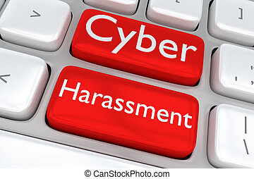Cyber Harassment concept - 3D illustration of computer...
