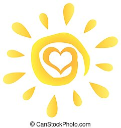 Abstract Sun With Heart Simple Design With Gradient