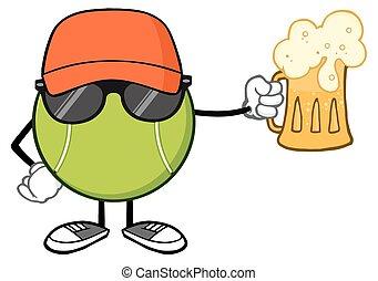 Tennis Ball Faceless Holding A Beer - Tennis Ball Faceless...