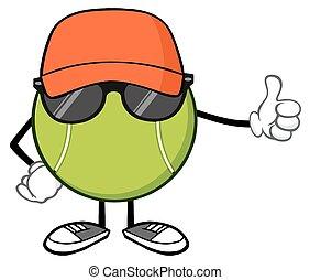 Tennis Ball Giving A Thumb Up - Tennis Ball Faceless Cartoon...