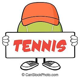 Tennis Ball Faceless With Hat - Tennis Ball Faceless Cartoon...