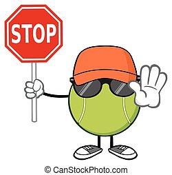 Tennis Ball Holding A Stop Sign - Tennis Ball Faceless...